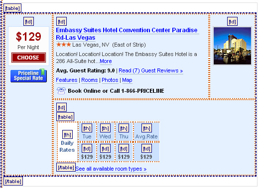 Hotel listing on priceline.com - screen shot