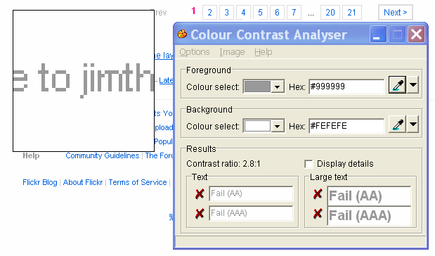 Contrast analyser screen shot